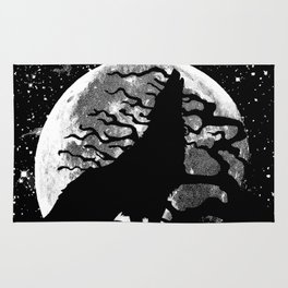 WOLF AND MOON IN BLACK AND WHITE Rug