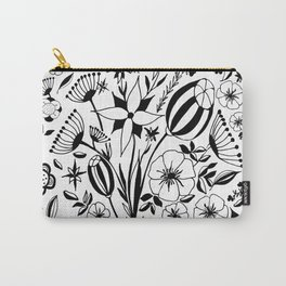 Black and white floral bouquet, hand-drawn Carry-All Pouch