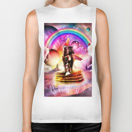 Cat Riding Llama With Pancakes And Milkshake Biker Tank