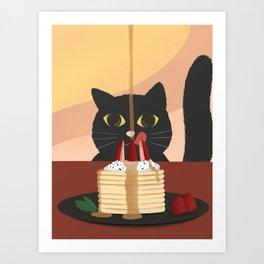 Carb Fiend aka Hungry Cat Eating Pancakes Art Print