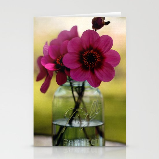 Dahlias In A Blue Jar Stationery Cards