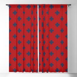 Navy Blue Swiss Cross Pattern on Red background Blackout Curtain