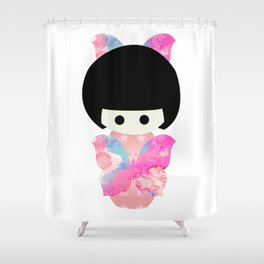 Butterfly Kokeshi Shower Curtain