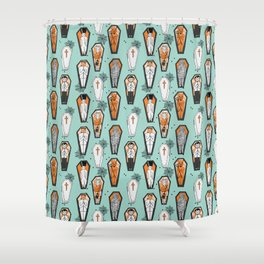 Coffins halloween pattern vampire cute spooky holiday pattern by andrea lauren Shower Curtain