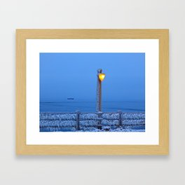 Frosted Light and Ship Framed Art Print