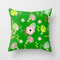 Flowers, leaves and ... pelicans Throw Pillow