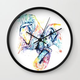 Elephant Mom and Baby Painting - Colorful Watercolor Painting by Whitehouse Art Wall Clock
