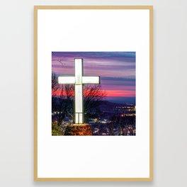 Mt Sequoyah Cross at Sunset - Square Print - Fayetteville Arkansas Framed Art Print