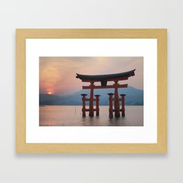 Miyajima sunset Framed Art Print