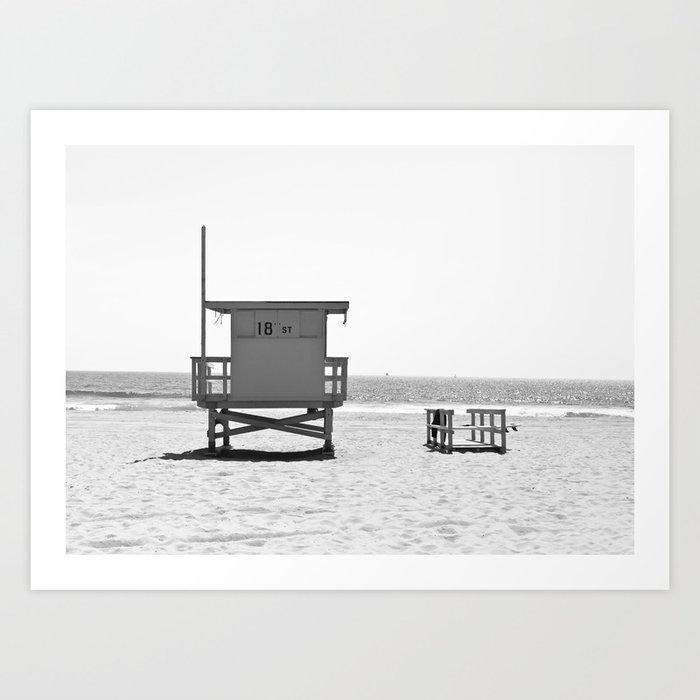 Manhattan Beach Lifeguard Tower (Black and White) Kunstdrucke
