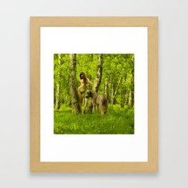 Ania and the Wolfhound at Dún na Rí Framed Art Print