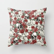 Skulls and Roses or Les Fleurs du Mal Throw Pillow
