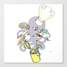 Master Chef Octopus Stew Octopi Canvas Print