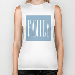 Family word on placid blue background Biker Tank