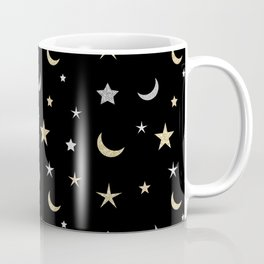 Gold and silver moon and star pattern on black background Coffee Mug