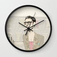 chad wys Wall Clocks featuring I´m hipster  by Cecilia Sánchez