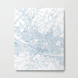Street MAP Florence // Blue Metal Print