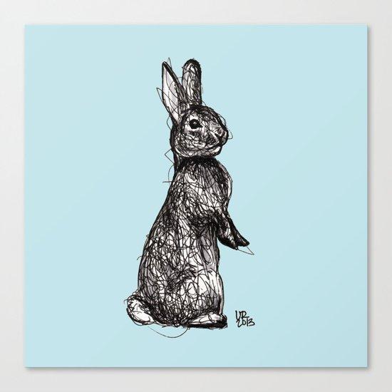 Blue Woodland Creatures - Rabbit Canvas Print