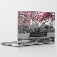 cherry blossom Laptop & iPad Skins featuring Cherry Blossom by Claire Doherty