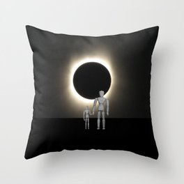 Wooden Anatomy Father Doll and Child before Total Solar Eclipse Throw Pillow