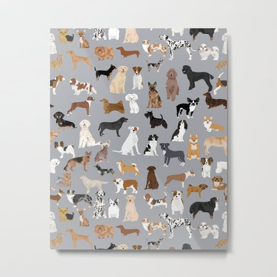 Mixed Dog lots of dogs dog lovers rescue dog art print pattern grey poodle shepherd akita corgi Metal Print