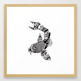 Koi Carp Fish Ink Pattern Framed Art Print