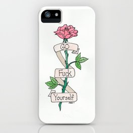 Go Fuck Yourself tattoo rose watercolor iPhone Case