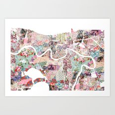New Orleans map landscape Art Print