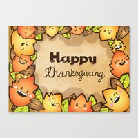 thanksgiving Canvas Prints featuring Happy Thanksgiving by Gina Mayes