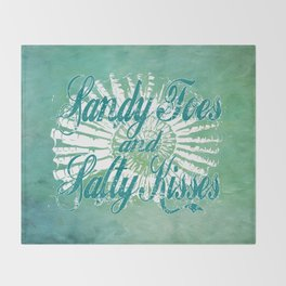 Sandy Toes and Salty Kisses with Nautilus Shell Graphic Design Throw Blanket