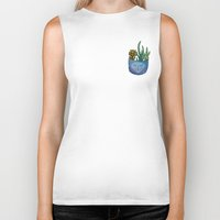 pocket fuel Biker Tanks featuring Pocket Series: Succulent Pocket by Fourd Simkins