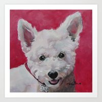 westie Art Prints featuring Westie - Ally by Karren Garces Pet Art