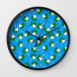 Sham-Rock on blue Wall Clock
