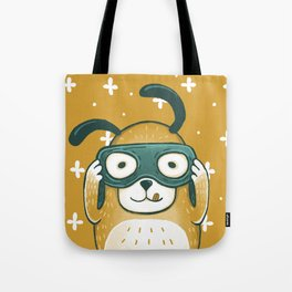 Cute yellow dog looking on telescope- whimsical illustration Tote Bag
