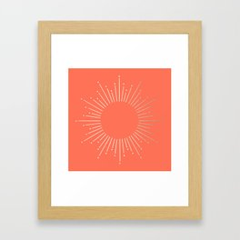 Simply Sunburst in Deep Coral Framed Art Print