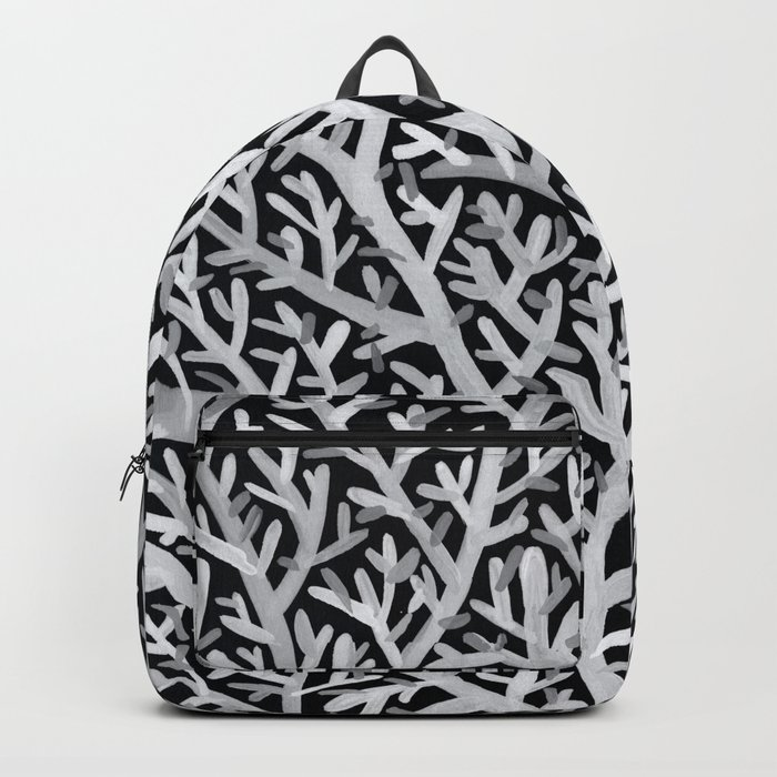 Fan Coral – White Ink on Black Backpack