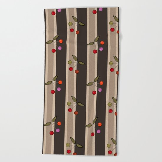 Colorful cherries on a brown striped background . Retro . Beach Towel