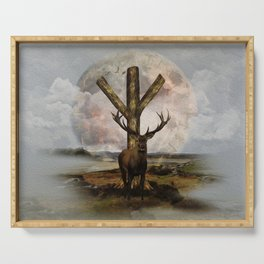 Algiz  Rune and Deer Digital Art Collage Serving Tray