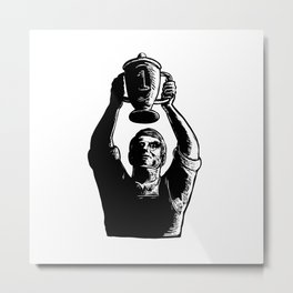 Worker Lifting Championship Cup Scratchboard Metal Print