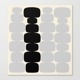 Abstraction_Balance_ROCKS_BLACK_WHITE_Minimalism_001 Canvas Print