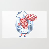 chef Area & Throw Rugs featuring Pizza Chef by drawgood