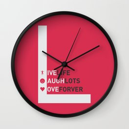 Lab No. 4 - live life laugh lots love forever Motivational Quotes Typography Poster Wall Clock