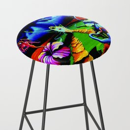 Trippy Psychedelic Surreal Visionary Art by VIncent Monaco - The Battlesoul Bar Stool