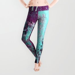 01012: a vibrant abstract piece in teal and ultraviolet Leggings