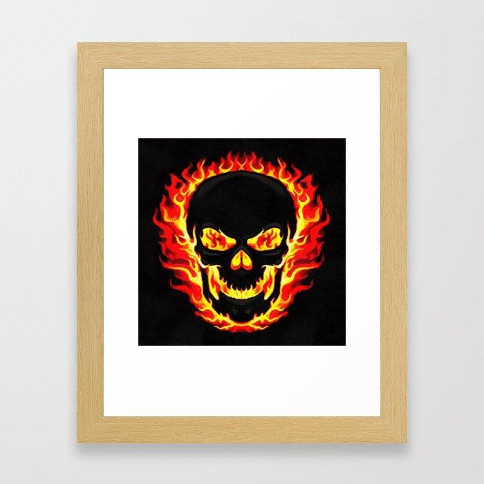 Flame Skull Framed Art Print