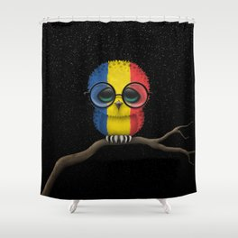 Baby Owl with Glasses and Romanian Flag Shower Curtain