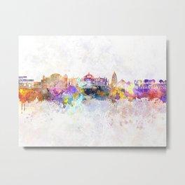 Jaipur skyline in watercolor background Metal Print