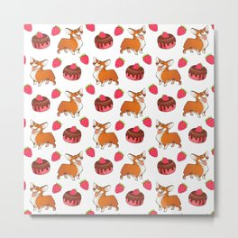 Cute happy playful funny puppy corgi dogs, sweet adorable yummy chocolate cake cartoon and red summer strawberries white design. Metal Print