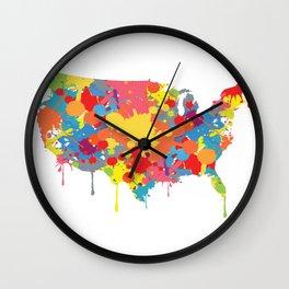 Patriotic USA Map Wall Clock