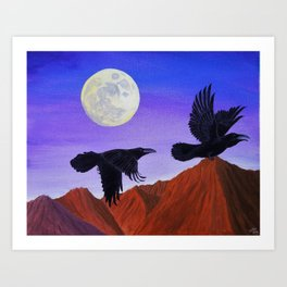 Moonlight Ravens' Flight Art Print